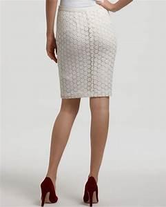 Karen Kane Lace Pencil Skirt in White (off white)   Lyst