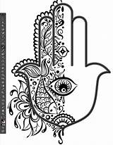 Hamsa Hand Fatima Tattoo Eye Illustrator Pattern Sketch Half Drawing Coloring Pages Palm Miss Catching Flower Fish Heart Mariam Artwork sketch template