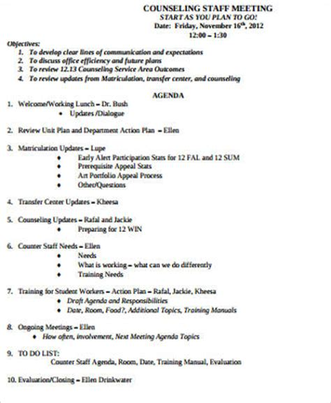 sample staff meeting agenda templates