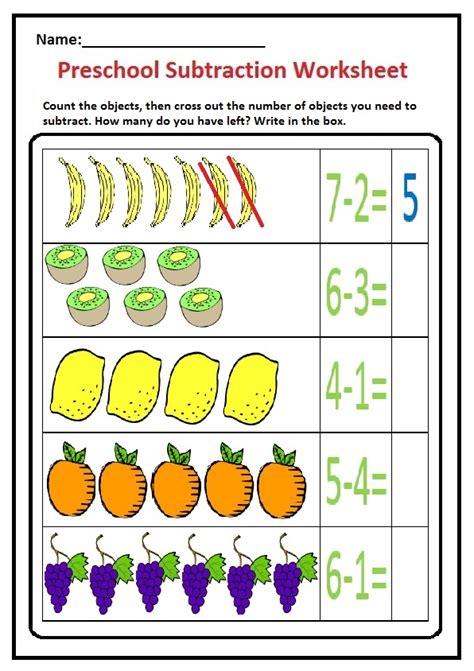 subtraction worksheet  preschool kindergarten st