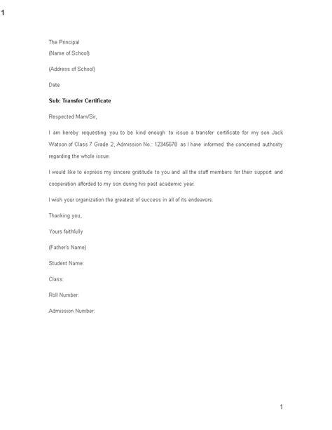school transfer request letter templates