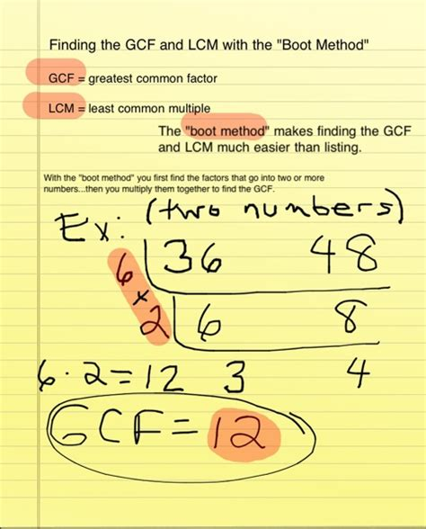 """Math Finding The Gcf And Lcm With The """"boot Method""""  Welcome To The 7c Irla Classroom Site"""