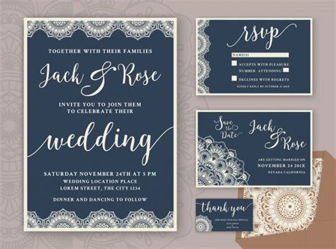 Rustic Wedding Invitation Design Template Include RSVP