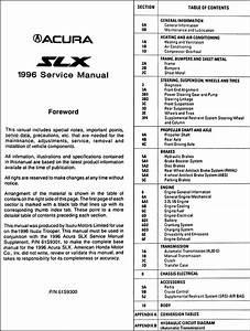 1996 Acura Slx Repair Shop Manual Original
