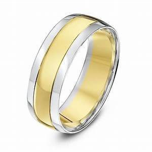 9kt white yellow gold court grooved 7mm wedding ring With yellow gold wedding rings