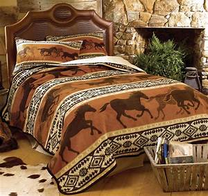 Western bedding king size horse fever fleece blanket lone for Kitchen cabinet trends 2018 combined with running horses wall art