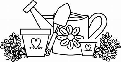 Coloring Watering Pages Flower Garden Pot