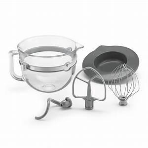 KitchenAid KSMF6GB 6 Qt Glass Bowl W Lid Mixing Tools