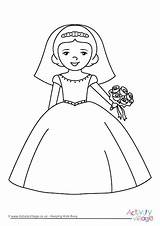 Bride Colouring Pages Wedding Coloring Activity Weddings Printable Bridal Princess Activityvillage Shower Groom Bridesmaid Disney Children Print Dressed Choose Become sketch template