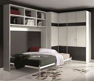 armoire lit escamotable athena avec dressing et rangements With armoire lit avec canapé intégré