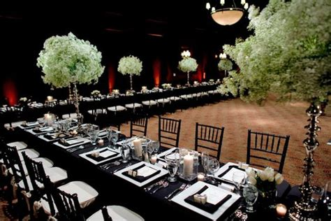black and white table arrangements long banquet tables look elegant in classic black white