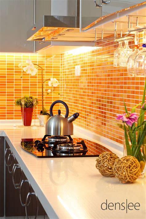 beautiful   orange tile   counter top backsplash