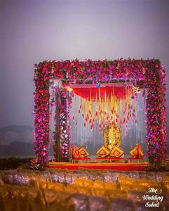 outdoor traditional red floral mandap decor- indian