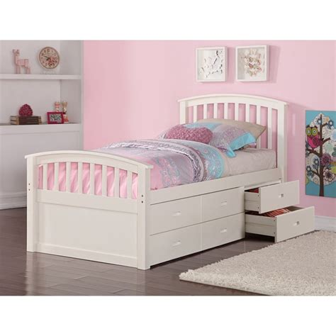 twin storage bed  drawers white dcg stores