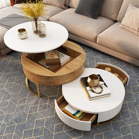 Round tables are easy to move around while square tables pair well with sectionals. Modern Round Coffee Table with Storage Lift-Top Wood Coffee Table with Rotatable Drawers in ...