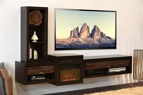 Floating TV Stand With Fireplace   ECO GEO Espresso
