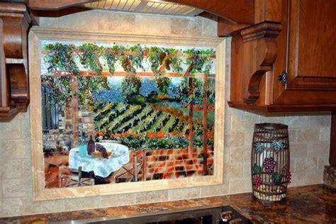 italian vineyard theme fused glass kitchen backsplash