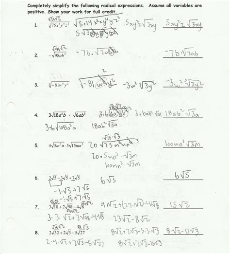 worksheet works simplifying fractions answers simplifying radical expressions worksheet answers
