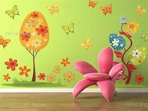 stickers muraux chambre bebe arbres papillons kit With chambre bébé design avec le champ de fleurs fibromyalgie