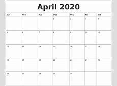 April 2020 Calendar Templates Free