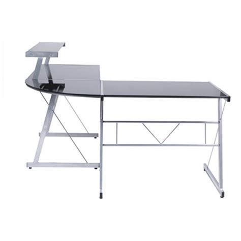 bureau verre et acier bureau d 39 angle design chili en acier et verre sécurit