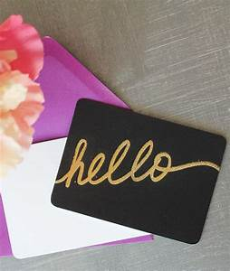 diy gold embossed handwritten notecards damask love With embossing hand lettering
