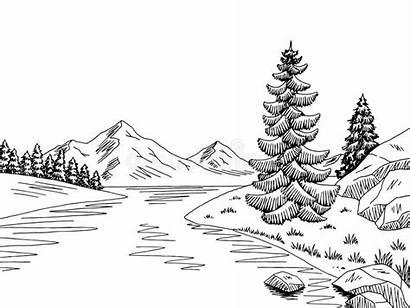 River Vector Sketch Mountain Landscape Illustration Graphic