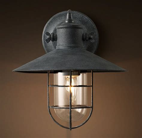 Exterior Sconce Lighting Fixtures - harbor sconce weathered zinc barn lights exterior