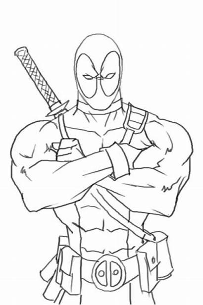 Deadpool Coloring Pages Hero Boys Action Printable