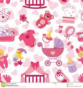 Newborn baby girl seamless pattern stock vector image