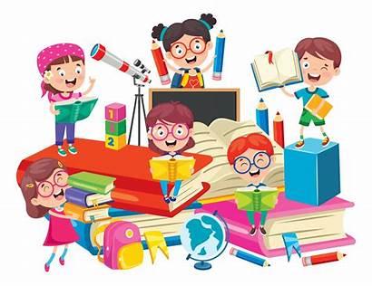 Learning Fun Having Books Cartoon Children Learn
