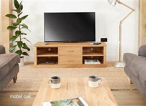Mobel Solid Oak Mounted Widescreen TV Cabinet Modern