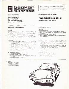 1971 Porsche 914 914 6 Audio Sound System Owners Manual