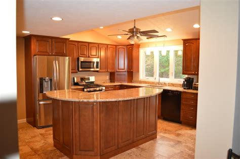 oak kitchen island with seating l shaped kitchen common but ideal kitchen designs homesfeed