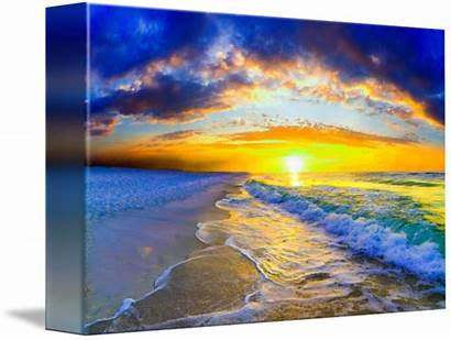 Ocean Waves Sunrise Orange Stretched Canvas Tanner