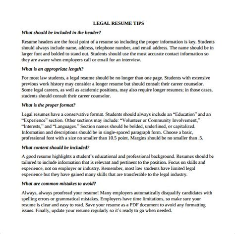 Lawyer Resume Tips by Sle Resume Template 13 Free Documents In Pdf Word