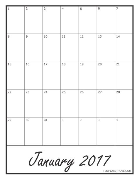 Blank One Month Calendar Template by 2017 Blank Monthly Calendar