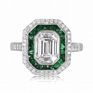 172 carat emerald cut diamond ring estate diamond jewelry for Emerald and diamond wedding ring