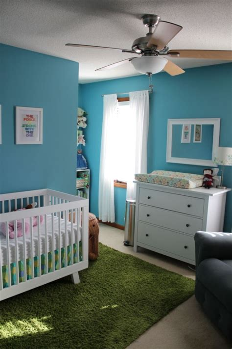 nursery babyletto hudson crib wars ikea hemnes dresser grass green rug blue and white