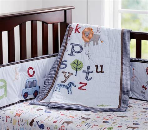 pottery barn crib bedding animal alphabet baby bedding set pottery barn