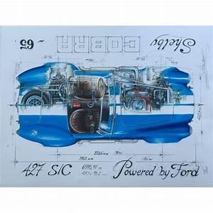 Diagram Of A 65 Shelby Cobra 427 Print By Sebastien Sauvadet