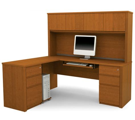 buy desk with hutch bestar prestige l shape desk with hutch in cognac cherry