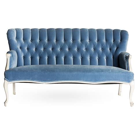 Blue Velvet Settee by Sofa Blue Velvet Settee A La Crate Rentals