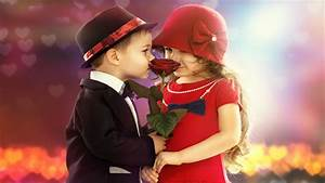 Cute Kids Couple Rose In Hand Lovely Wallpaper ...