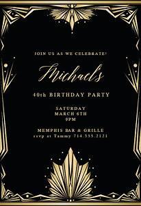 deco frame birthday invitation template free