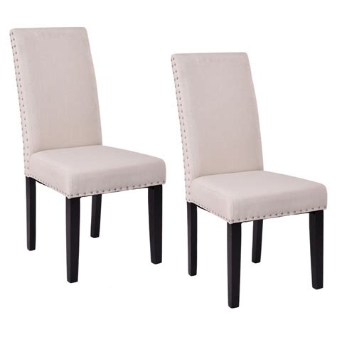 set of 2 fabric upholstered armless dining chairs