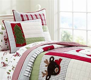 Dear santa quilted bedding pottery barn kids for Christmas sheets pottery barn