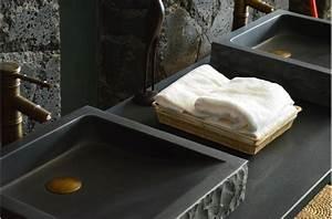 vasque en pierre a poser borneo design basalte noir With salle de bain design avec vasque en basalte