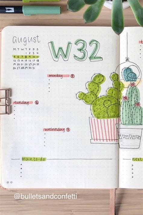 cactus succulent themed bullet journal ideas