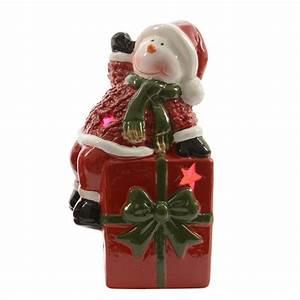 Personnage Pour Village De Noel : p re no l lumineux et son cadeau en c ramique village de noel eminza ~ Melissatoandfro.com Idées de Décoration